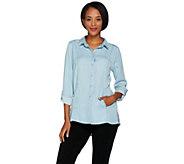Kelly by Clinton Kelly Denim Shirt with Roll Tab Sleeves - A289722