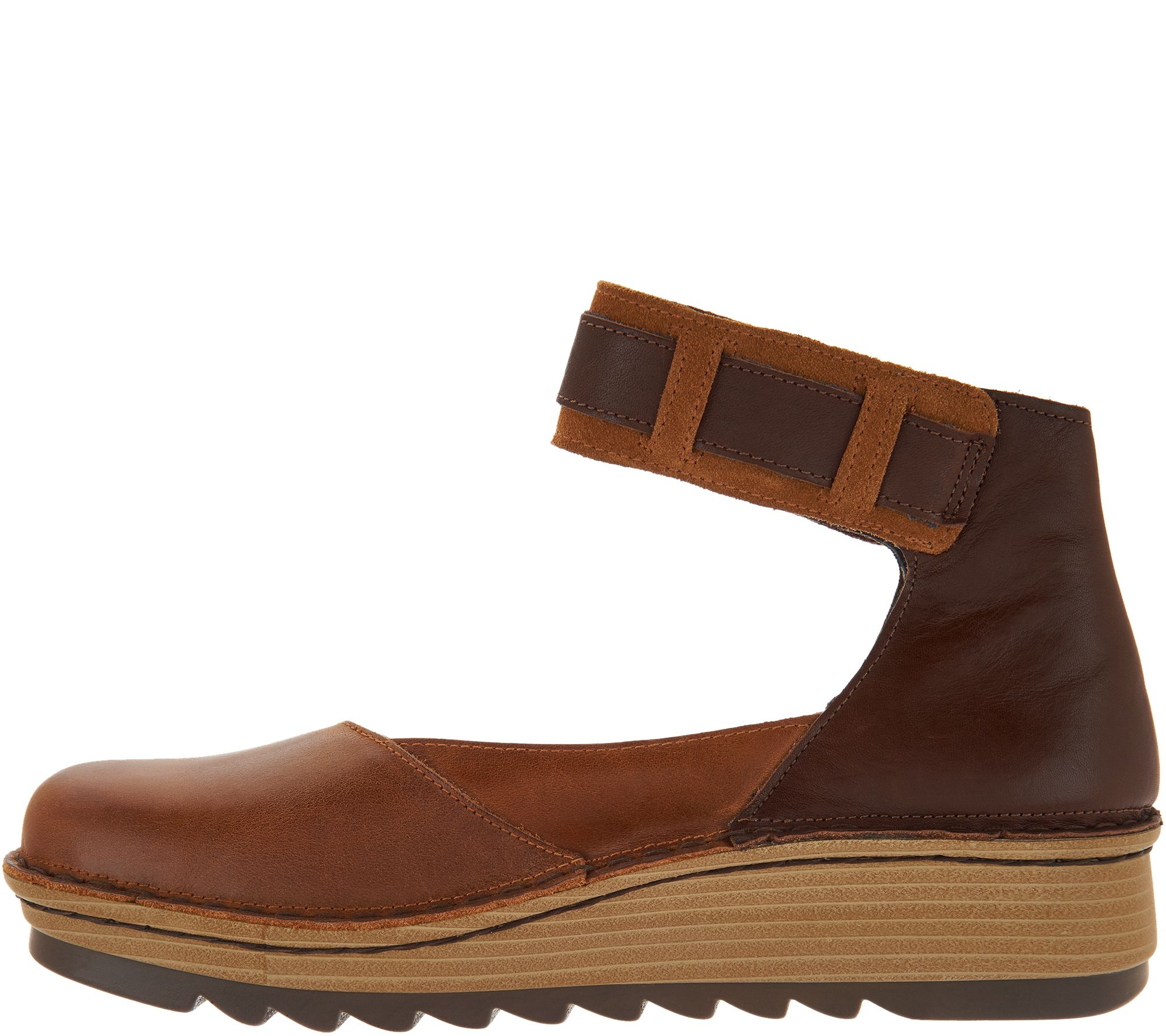 Naot Leather Colorblocked Slip-on Shoes w  Ankle Strap - Sycamore - Page 1  — QVC.com d88d50a83ea