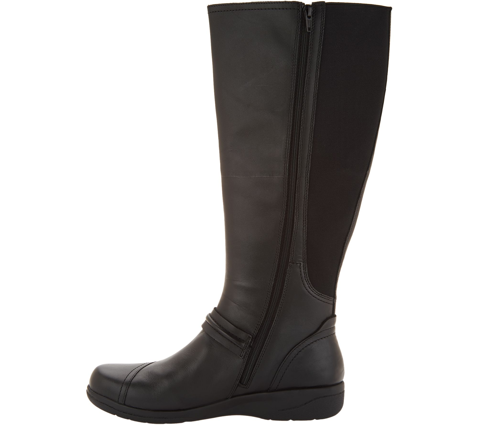 8b72746bb25 Clarks Leather Wide Calf Tall Shaft Boots - Cheyn Whisk - Page 1 — QVC.com