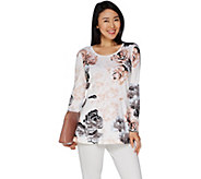 Studio by Denim & Co. Floral Print Peplum Round Neck Top - A301122