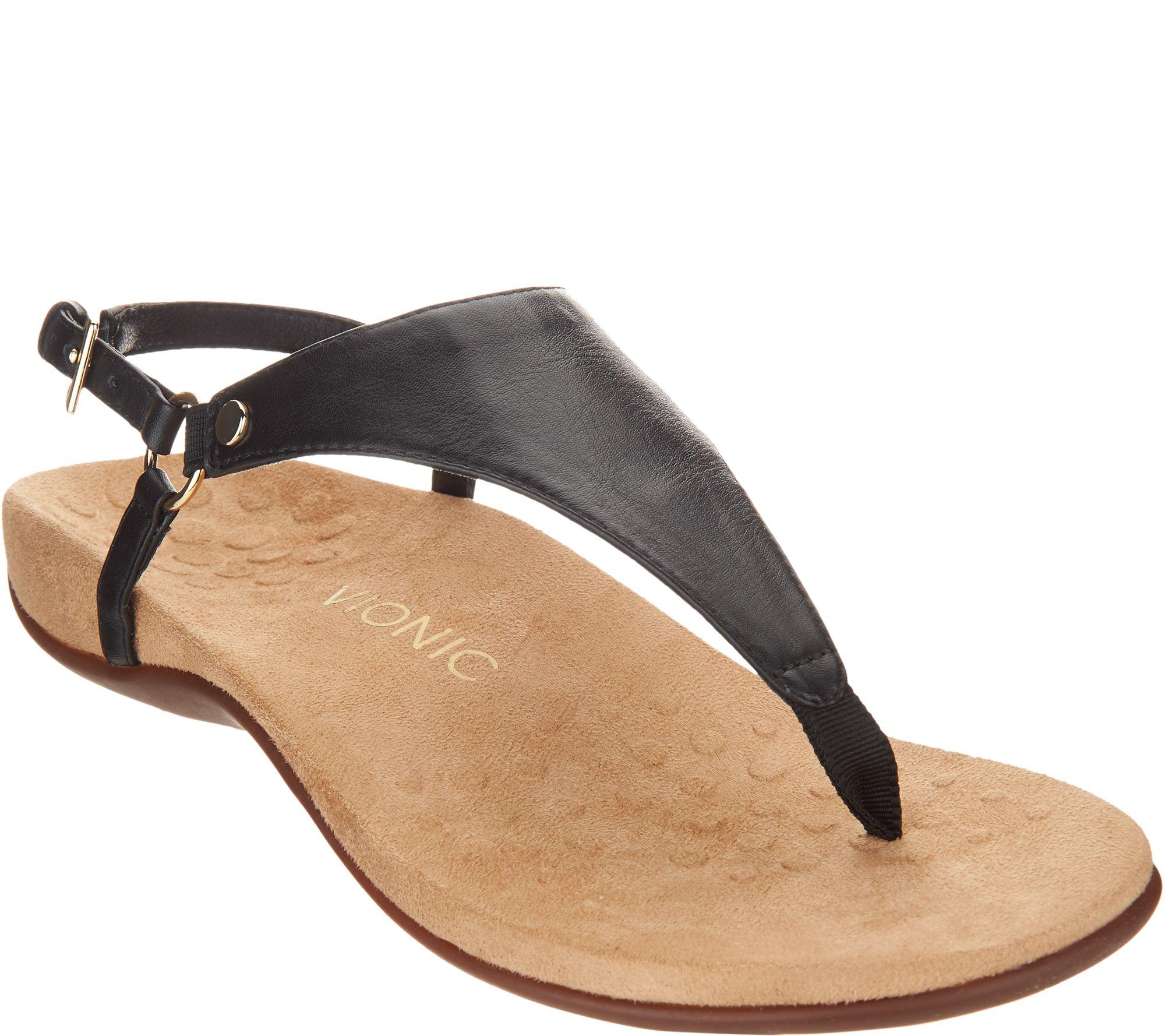 598d141e0661 Vionic Leather T-Strap Sandals - Kirra - Page 1 — QVC.com