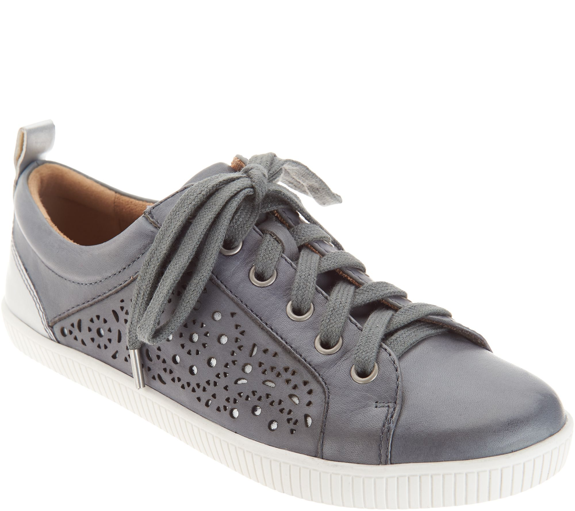 48585502fe570b Earth Perforated Leather Lace-up Shoes - Tangor - Page 1 — QVC.com