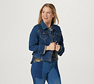 Du Jour Button Front Denim Jacket with Ruffle Back Detail - A307522
