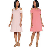 Denim & Co. Set of 2 Stripe & Solid Cold Shoulder Dresses - A307622