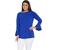 Every Day by Susan Graver Liquid Knit Bell Sleeve Top w/ Ruching - A308222