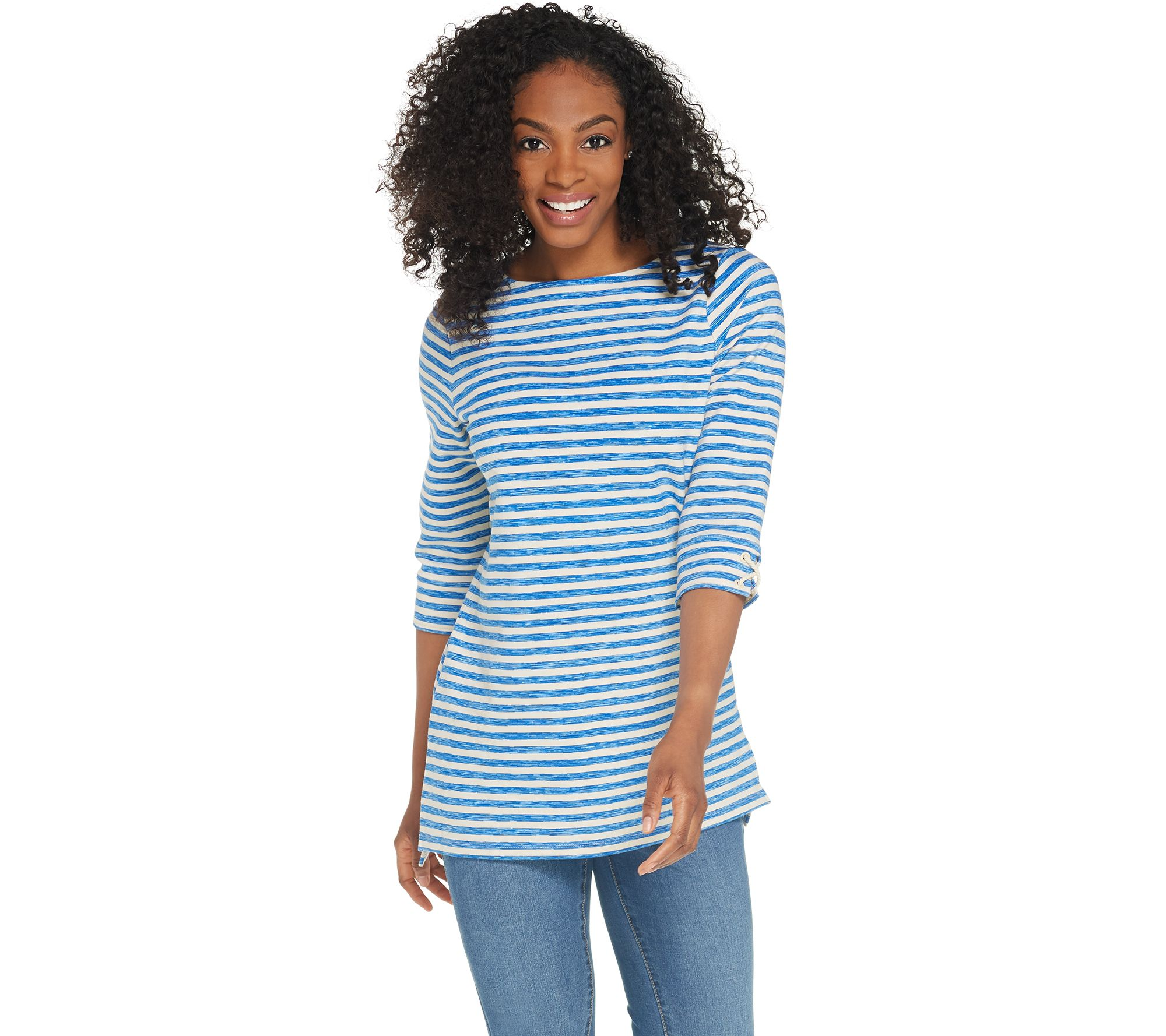 92f0b7d2d58 Denim   Co. Active Striped French Terry Boat Neck 3 4 Sleeve Tunic - Page 1  — QVC.com
