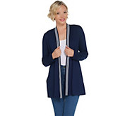 Dennis Basso Interlock Knit Cardigan w/ Striped Trim Detail - A310222