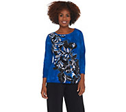 Bob Mackies Art Deco Placement Print Knit Top - A341822