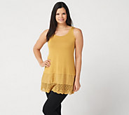 LOGO Layers by Lori Goldstein Solid Tank with Lace & Woven Trim - A347922