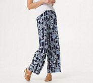 Bob Mackie Petite Balinese Floral Striped Print Pull-On Pants - A349822
