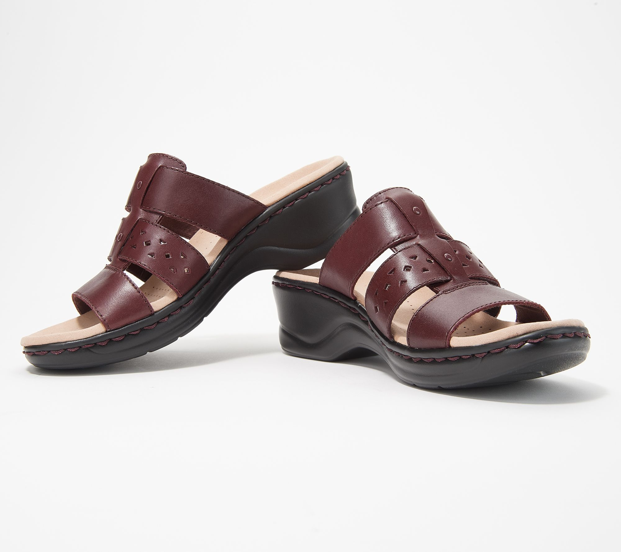 a37167a06 Clarks Collection Leather Slide Sandals - Lexi Juno - Page 1 — QVC.com
