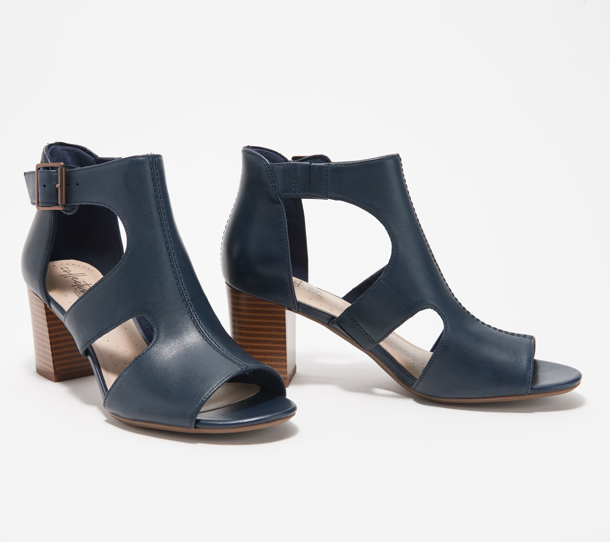 ac0c4dd4e9d Clarks Collection Leather Heeled Sandals - Deva Heidi — QVC.com