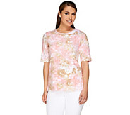 Denim & Co. Perfect Jersey Elbow Sleeve Watercolor Print Top - A254223