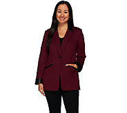 Susan Graver Ponte Jacket with Faux Leather Trim Petite - A268623