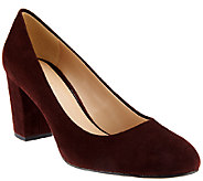 H by Halston Suede Block Heel Pumps - Lenna - A269723