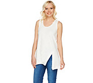 LOGO Lounge by Lori Goldstein Cotton Slub Knit Tank with Notch Detail - A275023