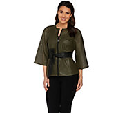 G.I.L.I. Perforated Dolman Sleeve Belted Jacket - A277123