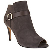 Marc Fisher Leather or Suede Peep-toe Ankle Boots - Shimmee - A278423
