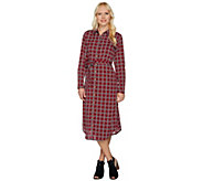 C. Wonder Midi Length Lattice Print Button Front Shirt Dress - A279723