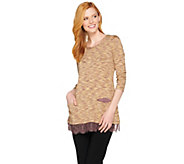 LOGO by Lori Goldstein Space Dye Knit Top with Lace Hem - A283023