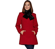 Susan Graver Faux Wool Button Down Coat with Faux Fur Scarf - A283523