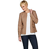 Isaac Mizrahi Live! Lamb Leather Mixed Quilted Barn Jacket - A286123