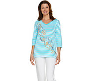 Quacker Factory Beachcomber Striped Embroidered Knit Top - A288123