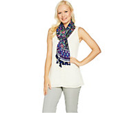 C. Wonder Floral Border Print Scarf with Pom Pom Trim - A290623