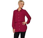 Susan Graver Regular Stretch Woven Button Front Shirt - A293623