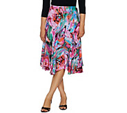 Bob Mackies Floral Print Pull-On Woven Skirt - A293823