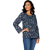Kelly by Clinton Kelly Printed Woven Top w/ Pleated Front Detail - A297923