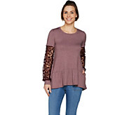 LOGO Lounge by Lori Goldstein French Terry Top with Crochet Sleeves - A299623