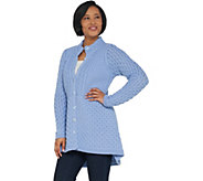 Aran Craft Merino Wool Hi-Low Button Front Sweater - A305723