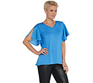 H by Halston V-Neck Knit Mixed Media Flutter Sleeve Top - A310023