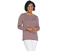 Dennis Basso Striped Knit Long-Sleeve Top - A310223