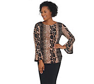 Bob Mackie Floral Paisley Crepe Knit Top with Flounce Sleeves - A342623