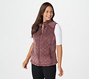 Denim & Co. Active Quilted Zip Front Frosted Sherpa Vest - A342723