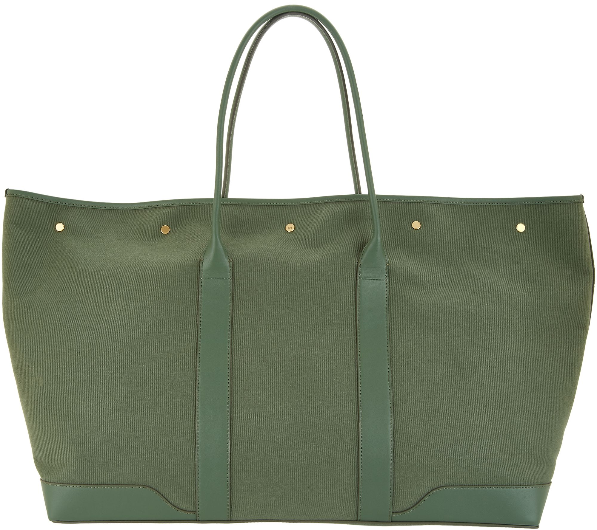 Martha Stewart Large Canvas Tote with Leather Trim - Page 1 — QVC.com