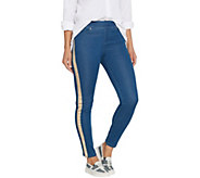 Martha Stewart Petite Knit Denim Metallic Tuxedo Stripe Ankle Jeans - A345123