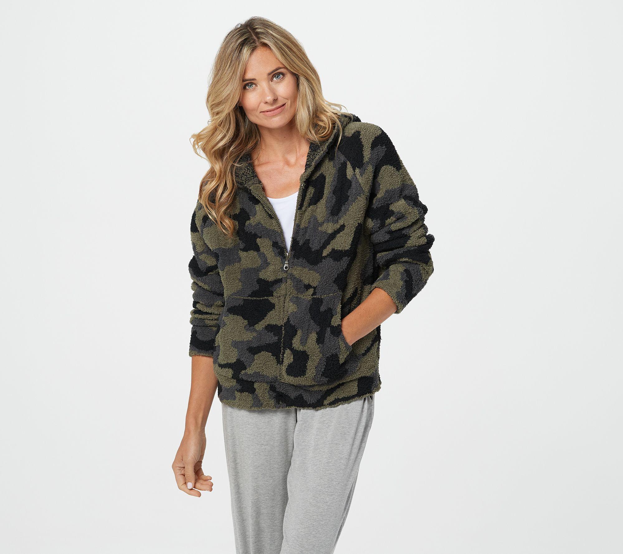 Hooded Zip-Up Jacket for Women Barefoot Dreams CozyChic Camo Anorak