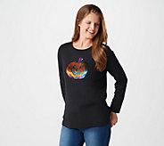 Quacker Factory Reversible Sequin Pumpkin Long Sleeve T-Shirt - A369323