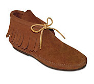 Minnetonka Classic Hardsole Suede Ankle Boots with Fringe - A141124