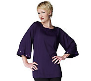 Joan Rivers Bell Sleeve Tunic with Jeweled Neckline - A220224