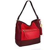 Isaac Mizrahi Live! Bridgehampton Color-block Leather Hobo - A234724