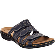 As Is Clarks Bendables Leisa Cacti Leather Triple Strap Slides - A259424