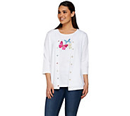 Quacker Factory Summer Fun 3/4 Sleeve Cardigan and Tank Twinset - A276724