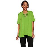 Susan Graver Artisan Liquid Knit Short Sleeve Cardigan Set - A277824
