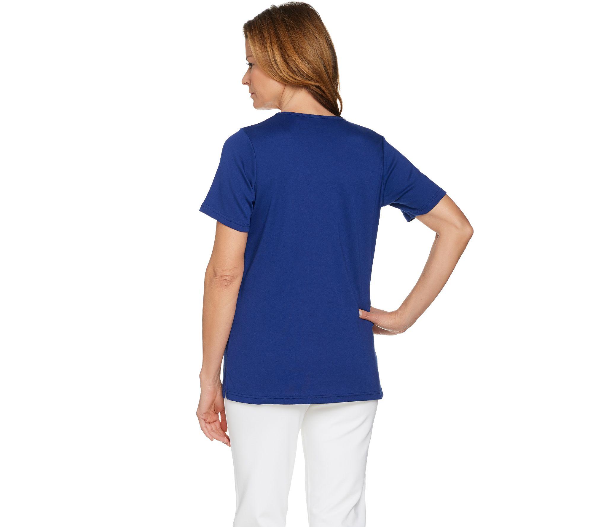 Quacker Factory Summer Sequin Short Sleeve T-shirt