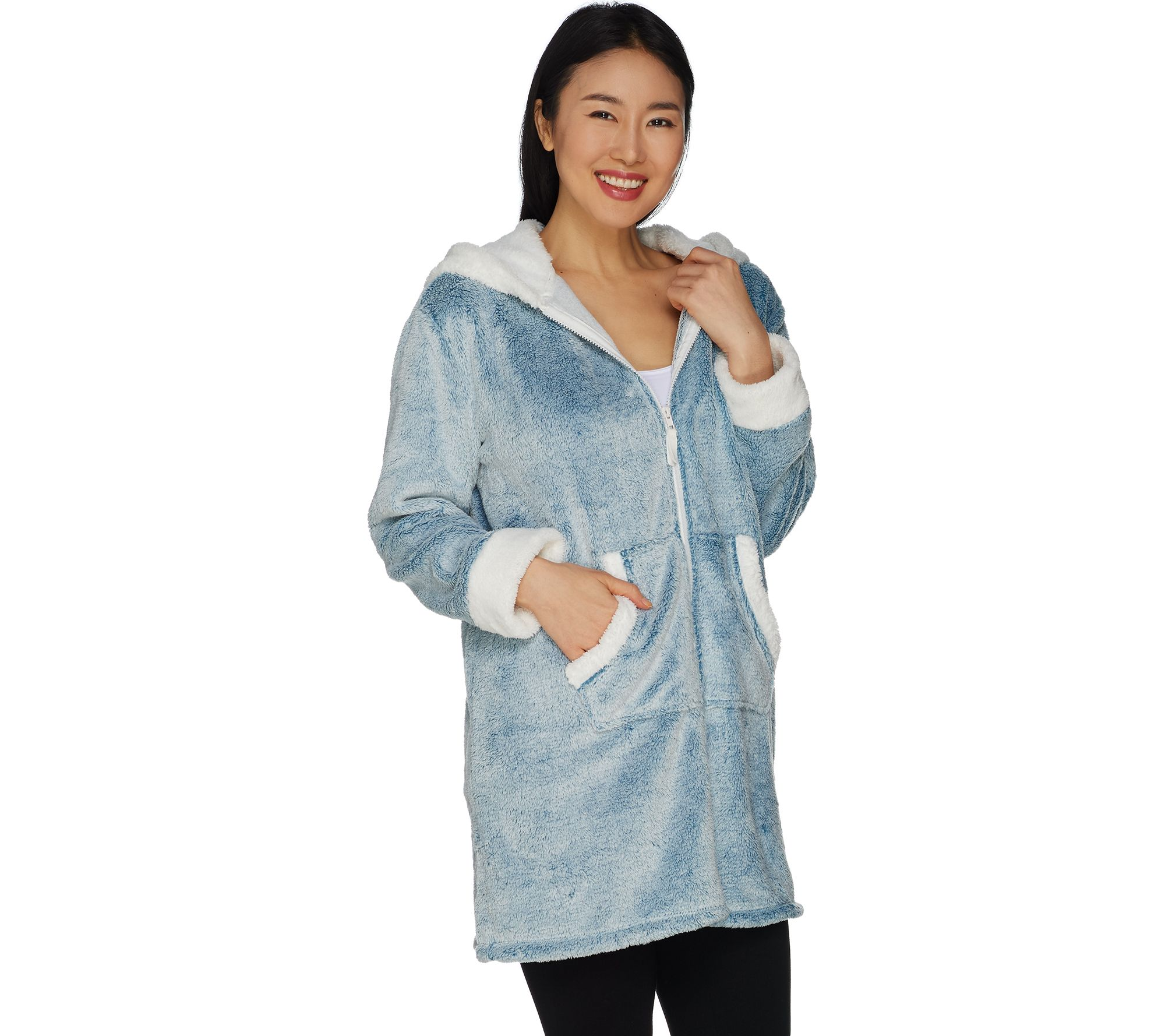 c0c5f2d81c Cuddl Duds Frosted Fleece Zip-Up Robe with Sherpa Trim - Page 1 ...