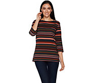 Denim & Co. Perfect Jersey Striped 3/4 Sleeve Boat Neck Top - A296224